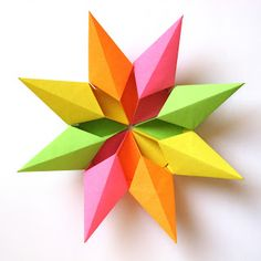 Origami: Stella diamante 2 - Diamond Star 2. modular origami, no cuts, no glue, 8 squares of paper, 9 cm x 9 cm. Designed and folded by Francesco Guarnieri, February 2012. CP: http://guarnieri-origami.blogspot.it/2013/02/stella-diamante-2.html