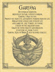 Garuda Prayer Poster- Born of Hindu and Buddhist mythology, the Garuda Prayer Poster shows Garuda, who is a bird-like creature. Mythological Creatures, Mythical Creatures, Wiccan Rede, Wiccan Spells, Wiccan Sabbats, Magic Spells, Mythical Birds, Pagan Witch, Witches