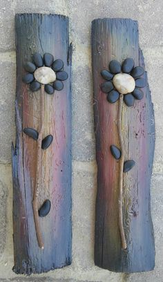 Pebble Art (Set of two matching reclaimed wood pieces) displaying cute black flowers