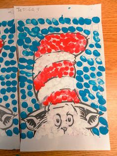 Dr. Seuss art--maybe I could get them to do this with Q-tips.