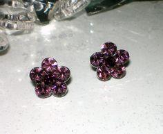 Amethyst Purple Bridal Prom Flower Girl Bridesmaid Gift Crystal Pierced Earrings