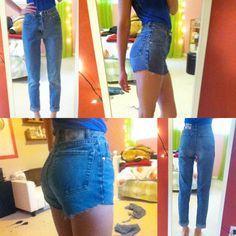 Cut old jeans into high waisted shorts – Your new jeans photo blog