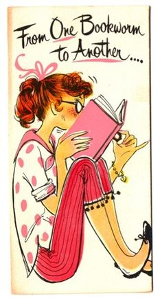 Vintage-Greeting-Card-Girl-1960s-Eyeglasses-Bookworm-Birthday-G110   SOLD