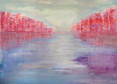 Pink Blue Purple Abstract Landscape Painting by PuzzledbyArtmondo
