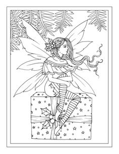 Christmas Fairy sitting on Gift - Printable Instant Download - Adult Coloring Page - Holiday, Fairy, faery, faires, Molly Harrison