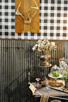 {Upcycled Dining Room Reveal} Love the corrugated tin as wainscoting!!!