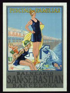 Piscina-familias : Balneario San Sebastian, Barcelona :: Cartells (Biblioteca de Catalunya)