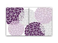 Purple and Gray Flower Burst Wall Art, Home Decor Wall Art, Living Room Art, Entryway Art, Bedroom Wall Art, Nursery Art Print - HOME36