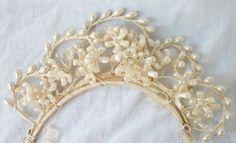 Antique Wax Flowers  Hand Made Bride Tiara  by BohemianStarlet