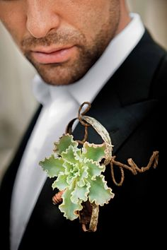 Everything is better in 3s: Succulent +Wire + Birch Bark = 1 Hot Boutonniere from @grace_ormonde #weddings #boutonnieres
