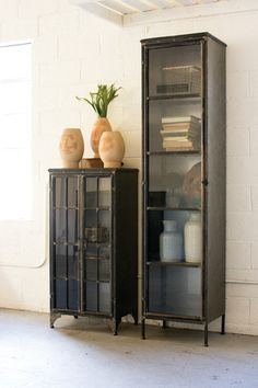 Kalalou Iron And Glass Apothecary Buffet. Slim serving cabinetry crafted of iron and glass. Snappy welded good looks in a light industrial style.
