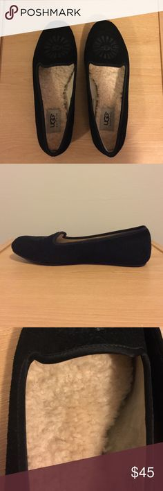 - UGG - Black Leather Sheepskin Flats Loafers UGG black genuine leather and sheepskin flats. A great pair of shoes to add to your winter wardrobe! Super warm, comfortable, and cozy! Worn once. UGG Shoes Flats & Loafers