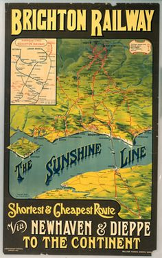 'The Sunshine Line Poster, 1914.. Brighton Railway - The Sunshine Line.