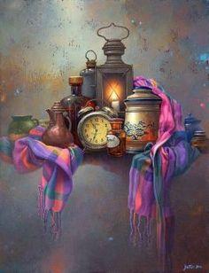 "Edward Szutter ""Putting Time on the Shelf for a While"" (pinner's caption) Arabic Art, Islamic Art Calligraphy, Still Life Art, Art Boards, Amazing Art, Watercolor Art, Modern Art, Art Drawings, Abstract Art"