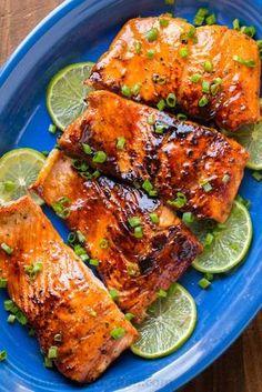 Skinless Salmon Recipe, Salmon Recipe Pan, Honey Glazed Salmon Recipe, Baked Salmon Recipes, Soy Honey Salmon, Honey Soy Glaze Recipe, Recipe Soy, Brown Sugar Glazed Salmon, Recipes