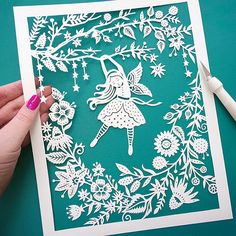This is an 8x10 archival quality fine art print of my original papercut illustration, Flower Fairy. The piece was cut from a single sheet of paper using an x-acto knife. The papercut was then scanned into the computer to make these beautiful giclee prints. The last photo shows the finished papercut! (Please note, this listing is for a PRINT of the original papercut, as shown in the first photos.) The print is on beautiful heavyweight matte fine art paper (I use Hahnemuhle fine art paper) and…