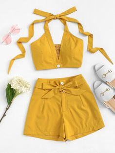 Solid Halter Top With Tie Waist ShortsFor Women-romwe - clothes Girls Fashion Clothes, Teen Fashion Outfits, Mode Outfits, Look Fashion, Girl Outfits, Womens Fashion, Teen Clothing, Fashion Styles, Cute Summer Outfits