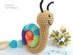Baby teething toy rattle Crochet toy snail  by ILoveAmigurumi