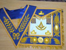 Masonic Regalia Made of Leather, Hand Embroiderd Past Master Apron and Collar