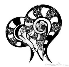 Zodiac signs - Aries. Tattoo design. by Kseniya Polishchuk, via Dreamstime