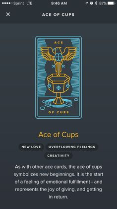 Ace of Cups from the Golden Tarot App