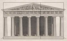 A drawing of the Parthenon  Athens, Greece  [Golden Proportions overlaid]  from the book  Antiquities of Athens