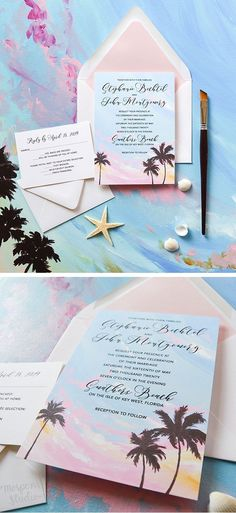Beautiful beach wedding invitation with original art by artist Michelle Mospens. Tropical sunset and palm trees perfect for a destination wedding. - Mospens Studio via Sunset Beach Weddings, Beach Wedding Locations, Sunset Wedding, Wedding Destinations, Destination Weddings, Wedding Invitation Images, Beach Theme Wedding Invitations, Wedding Stationery, Custom Invitations