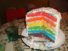 Homemade rainbow cake. This was quite hard to make, but fun!
