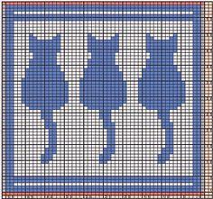 Here I offer only the chart pattern for a potholder. I am assuming that you are familiar with the double-faced knitting technique.
