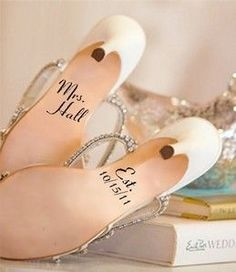 Writing on bride's shoes