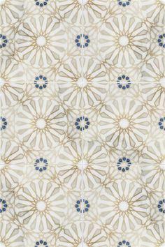 The Mossalli Pattern (Gold) shown on Carrara Glass Tile Backsplash, Ceramic Wall Tiles, Floor Design, Tile Design, Living Room Inspiration, Home Decor Inspiration, House Color Palettes, Vintage Tile, Funky Design