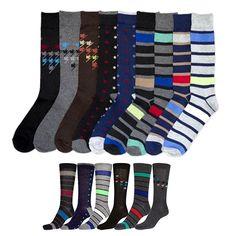 6 pairs Lot Knocker Mens Solid Assorted Print Design Dress Socks size 10-13 NEW