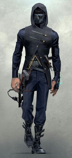 View an image titled 'Corvo Attano Art' in our Dishonored 2 art gallery featuring official character designs, concept art, and promo pictures. Cyberpunk Mode, Cyberpunk Fashion, Dishonored 2, Sci Fi Characters, Character Design Inspiration, Looks Cool, Design Reference, Art Reference, Costume Design