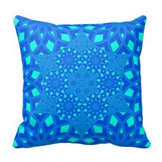 Blue and Turquoise Tile Patern Throw Pillow