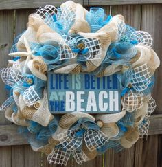 Hey, I found this really awesome Etsy listing at w - Hastag Stalk Wreath Crafts, Diy Wreath, Burlap Wreath, Diy Crafts, Wreath Ideas, Mesh Ribbon Wreaths, Deco Mesh Wreaths, Nautical Wreath, Summer Crafts