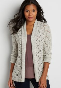 diamond stitched cardigan with metallic shimmer (original price,  $39.00 ) available at #Maurices #wishpinwinsweepstakes #discovermaurices