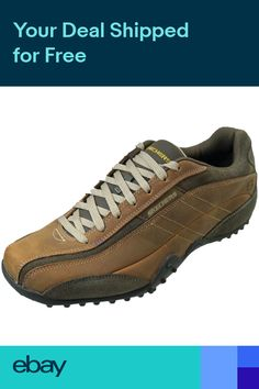 3ba8ec6874af Skechers Urban Track Imperial Mens Casual Leather Shoes Brown Memory  Trainers