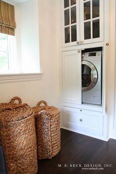 M. E. Beck Design - hidden washer dryer, washer dryer cabinet, white built in cabinet