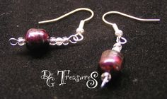 """Earring 11, - A 1"""" dangle of a red fresh water pearl and small beads off of a Sterling Silver fishhook. - pinned by pin4etsy.com"""