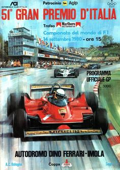 1980 GP-Italien (Imola) - The Grand Prix of Italy Program 1980 Jeep Carros, Slot Car Racing, Auto Racing, Gp F1, Course Automobile, Italian Grand Prix, Car Posters, Sports Posters, Poster Poster