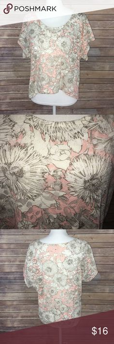 Pink floral lace crop top tee Gently used semi sheer top with beautiful romantic look . Layer it with a nude or blush tank top! Tag is faded but says size small could fit a medium. lovemakers Tops Blouses