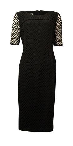 Anne Klein Women's Illusion-Sleeves Mesh-Net Sheath Dress