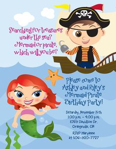 wording idea for the mermaid/pirate invites. If London and Britton have close birthdays this could work:)