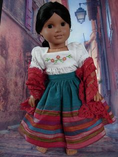 Embroidered Josefina Set fits American Girl Doll and 18 inch dolls on Etsy, $20.00