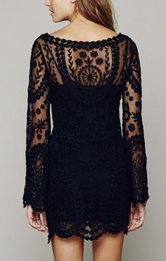 Love Love LOVE this dress! Gorgeous! Black See-through O-neck Long Sleeves Lace Dress #Black #Lace #Fashion