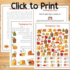 Thanksgiving Printable Games: I Spy, Maze, Crossword & Word Search