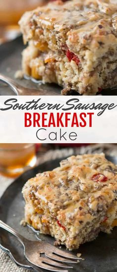 Southern Sausage Breakfast Cake ~ for breakfast! This time it's savory and we love to pair this yummy breakfast dish with our maple butter syrup. It's packed full of delicious peppers, cheese and flavorful breakfast sausage. Savory Breakfast, Breakfast Cake, Sausage Breakfast, Breakfast Dishes, Breakfast Recipes, Breakfast Ideas, Southern Breakfast, Vegetarian Breakfast, Breakfast Burritos
