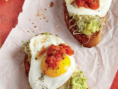 Sunny-side-up eggs, fresh sprouts, and salsa amp up avocado toast for a fast, no-fuss meal. It's a sure winner at breakfast, lunch, or...