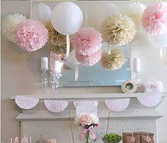 Mixed Color Fluffy Tissue Paper Pom Pom Flower Balls