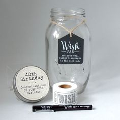 This is a new unique gift for a 40th Birthday, whether you are having a party or wanting to buy a gift for a special person, this is the gift you need to give.  The Wish Jar has been designed to store well wishes, words of wisdom, notes or even memories from the past. Each Wish Jar comes complete with a roll of tickets and a pen so that you can get started straight away writing wishes for the occasion.